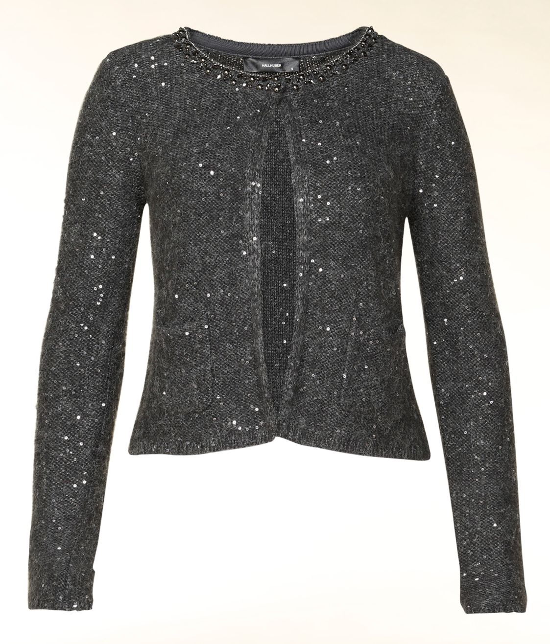 Sequin detail cropped knit cardigan