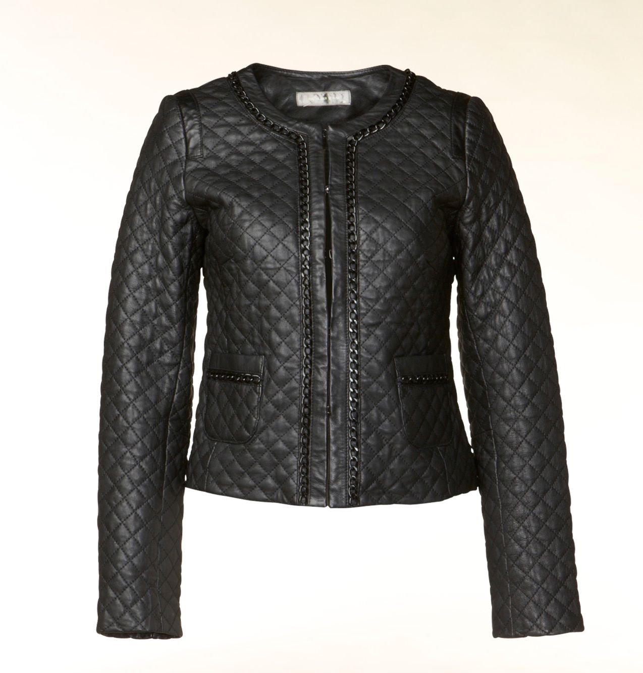 Leather quilted collarless jacket