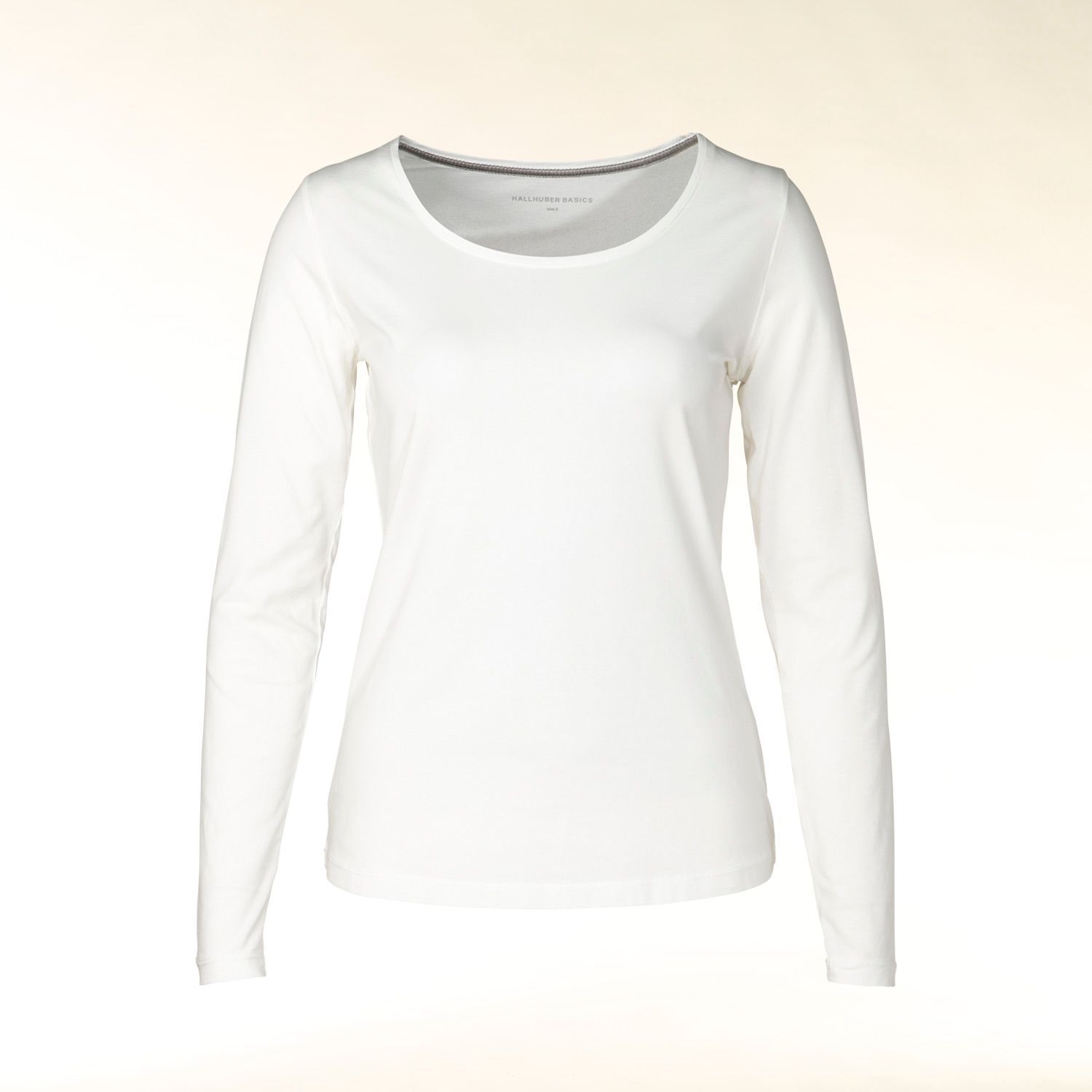Hallhuber Long sleeve round neck t-shirt, Off White