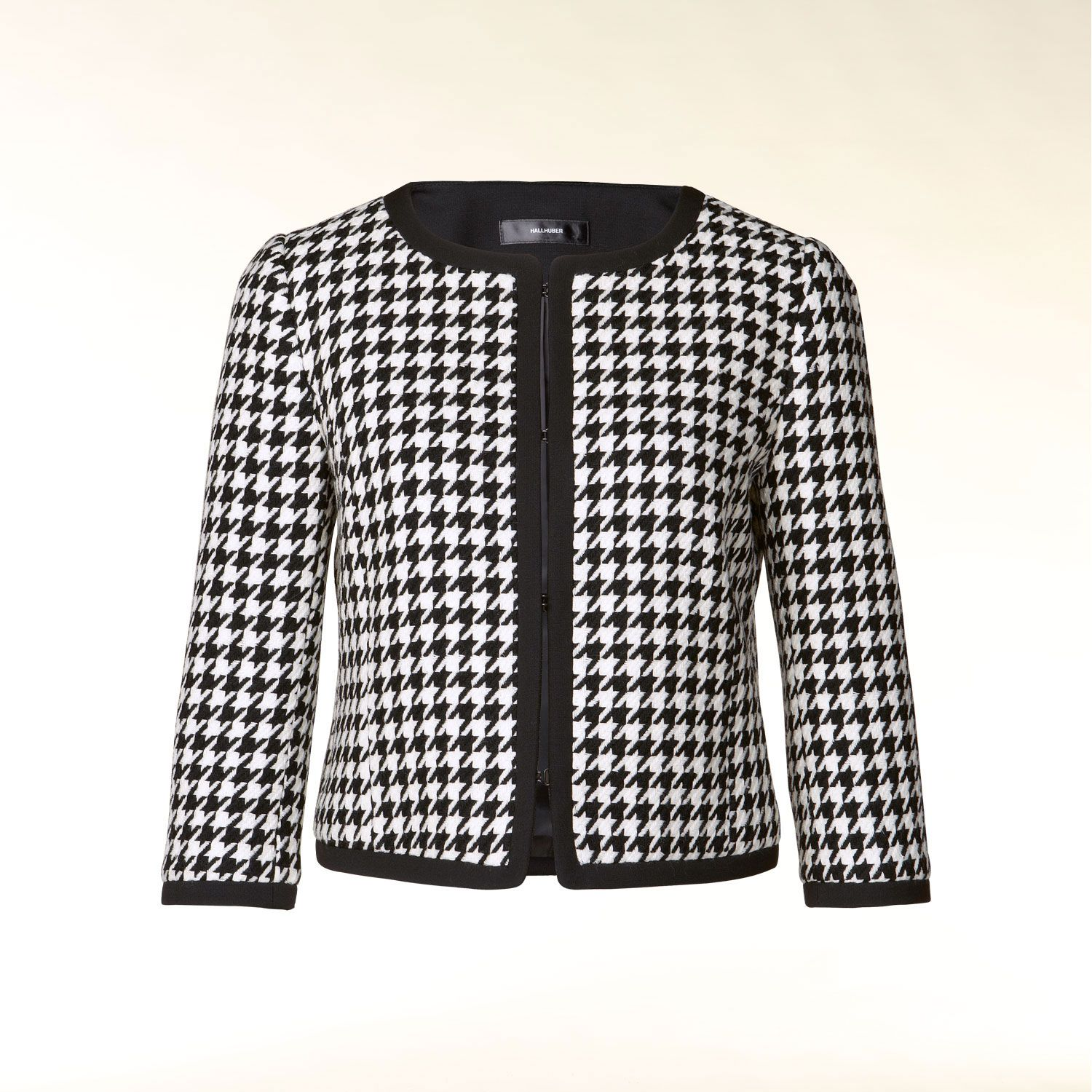 3/4 sleeve knit houndstooth jacket
