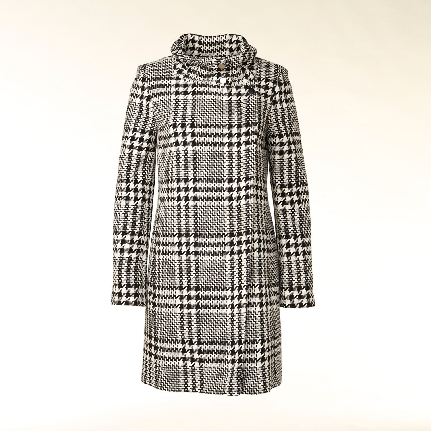 Oversized wool blend check coat