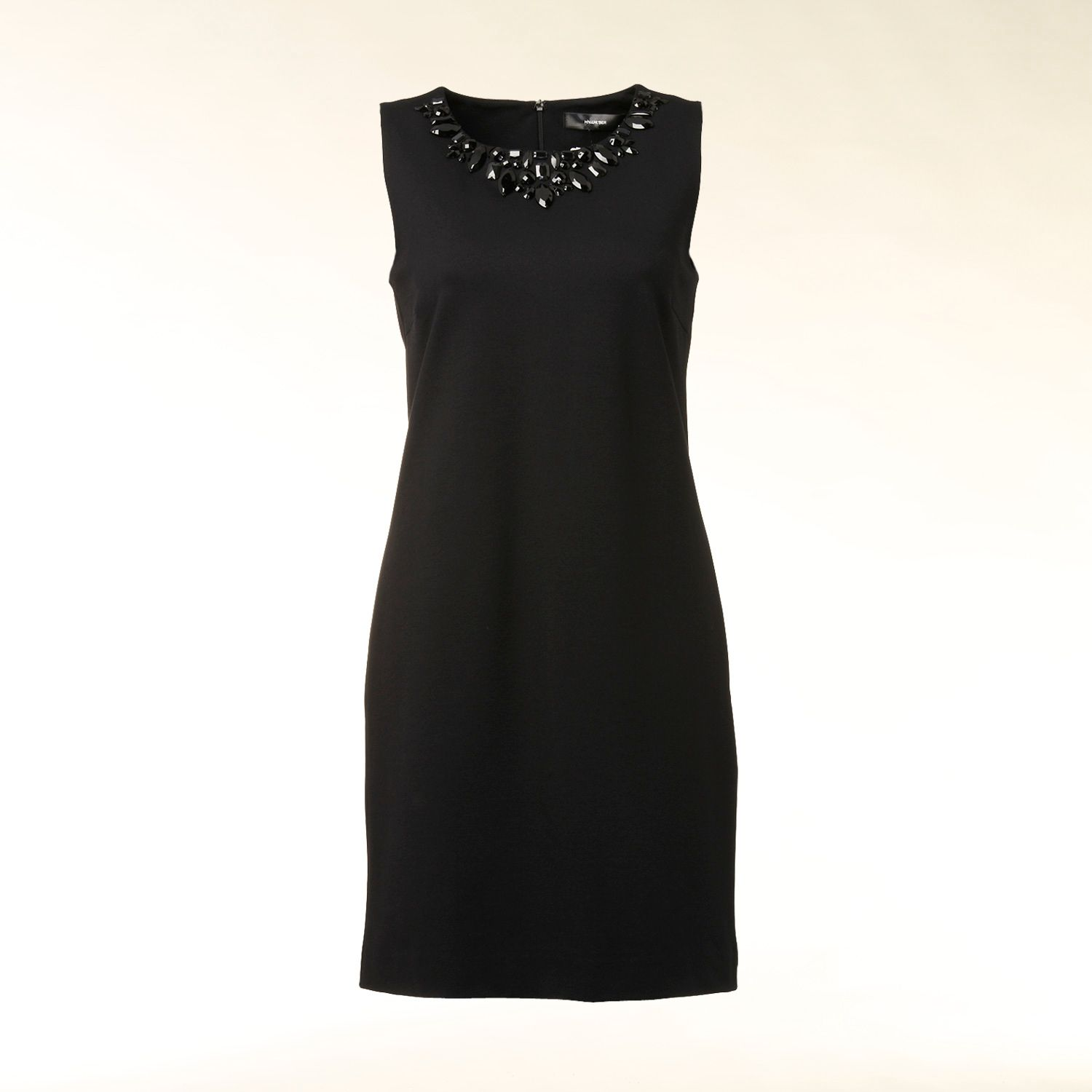 Sleeveless embellished neckline dress