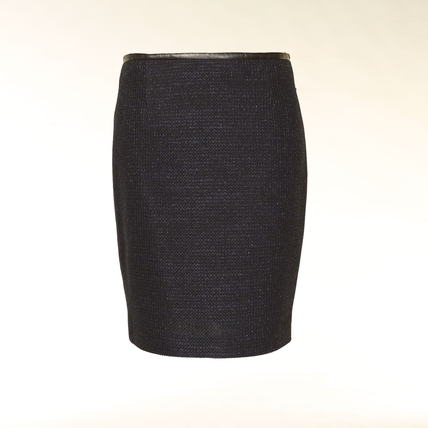 Leather effect trim bouclé skirt