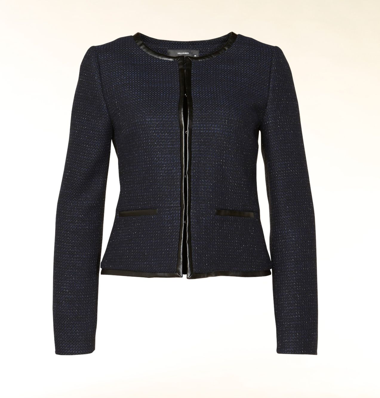 Leather effect trim bouclé jacket