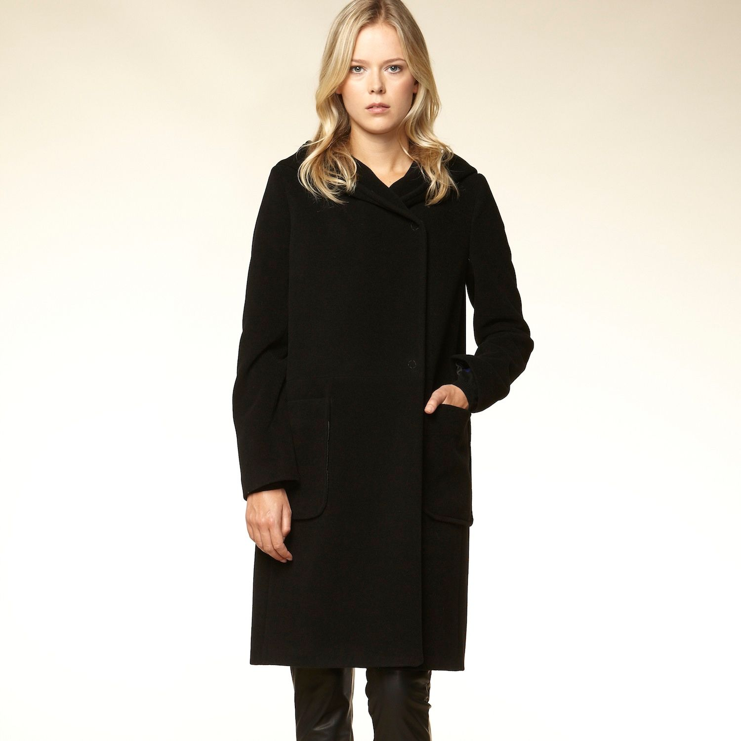 Cashmere blend hooded patch pocket coat
