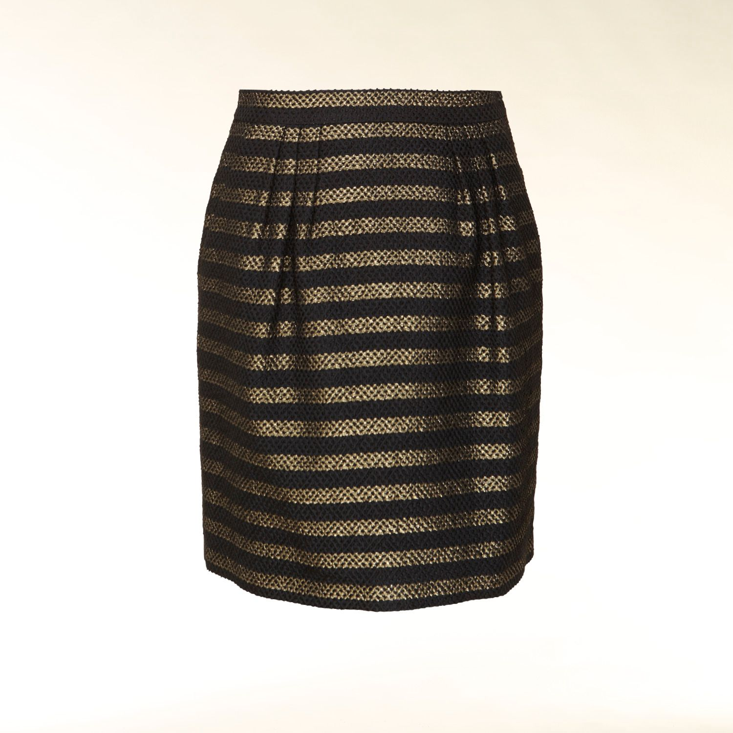 Metallic striped pencil skirt