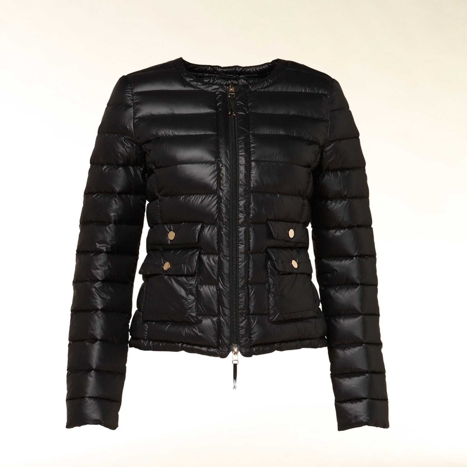 Collarless quilted short down coat