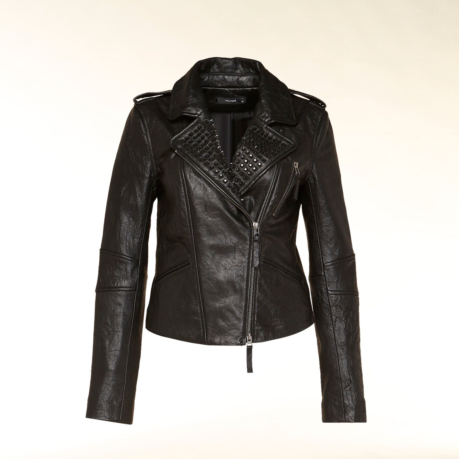Leather stud detail biker jacket