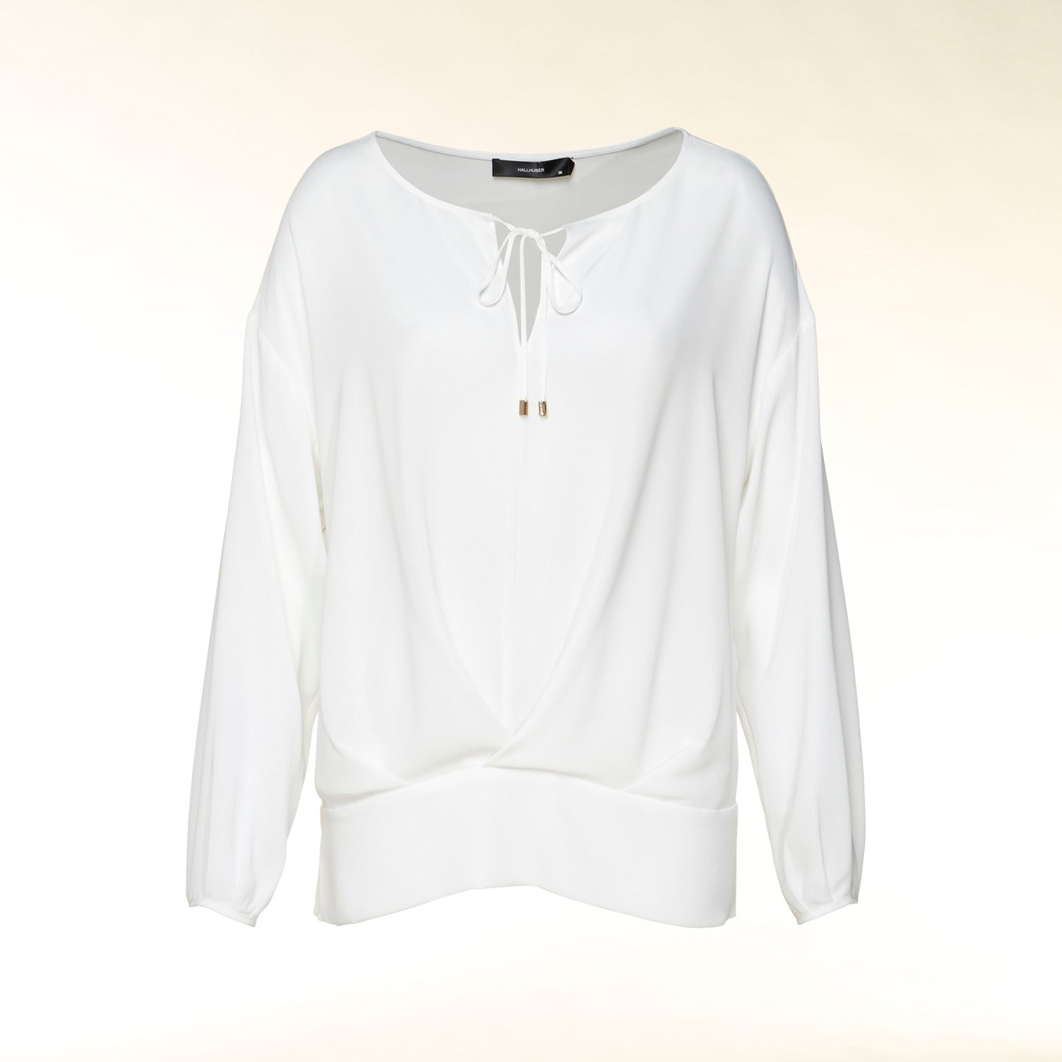 Collarless blouson tie detail blouse