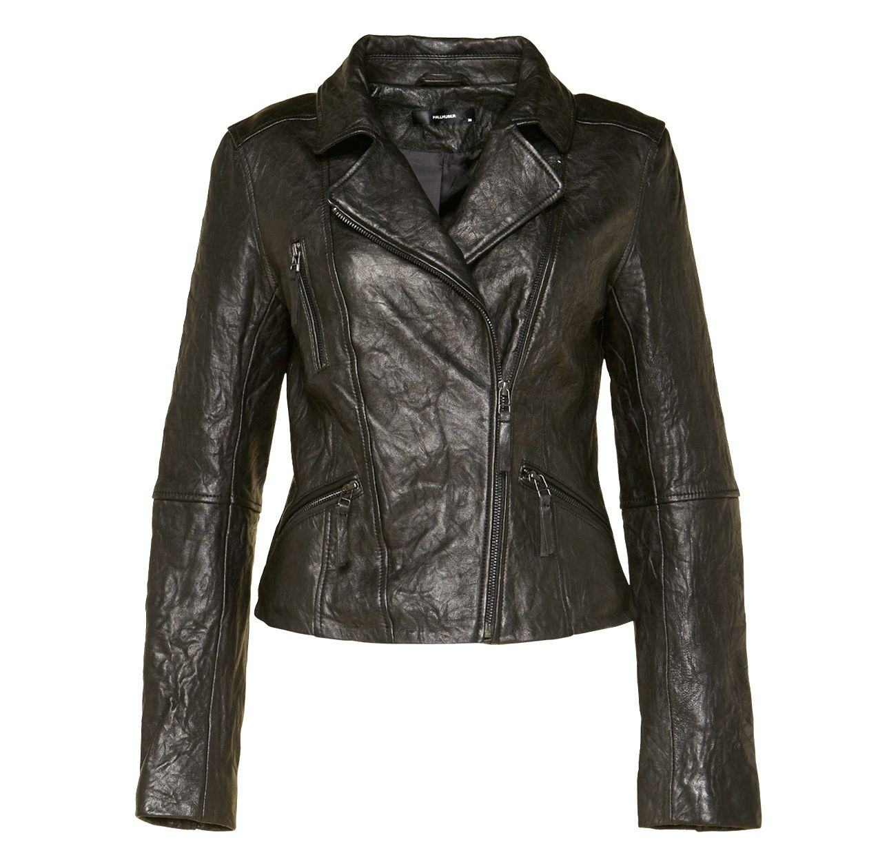 Creased effect leather jacket