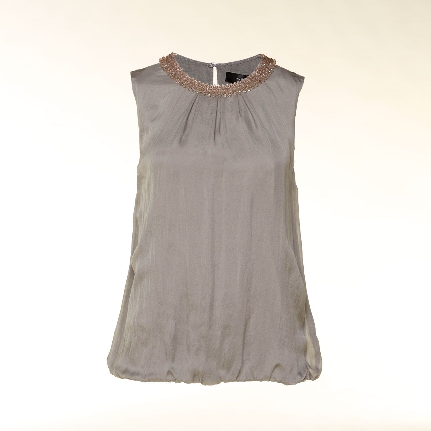 Silk top with pearl embellished neckline