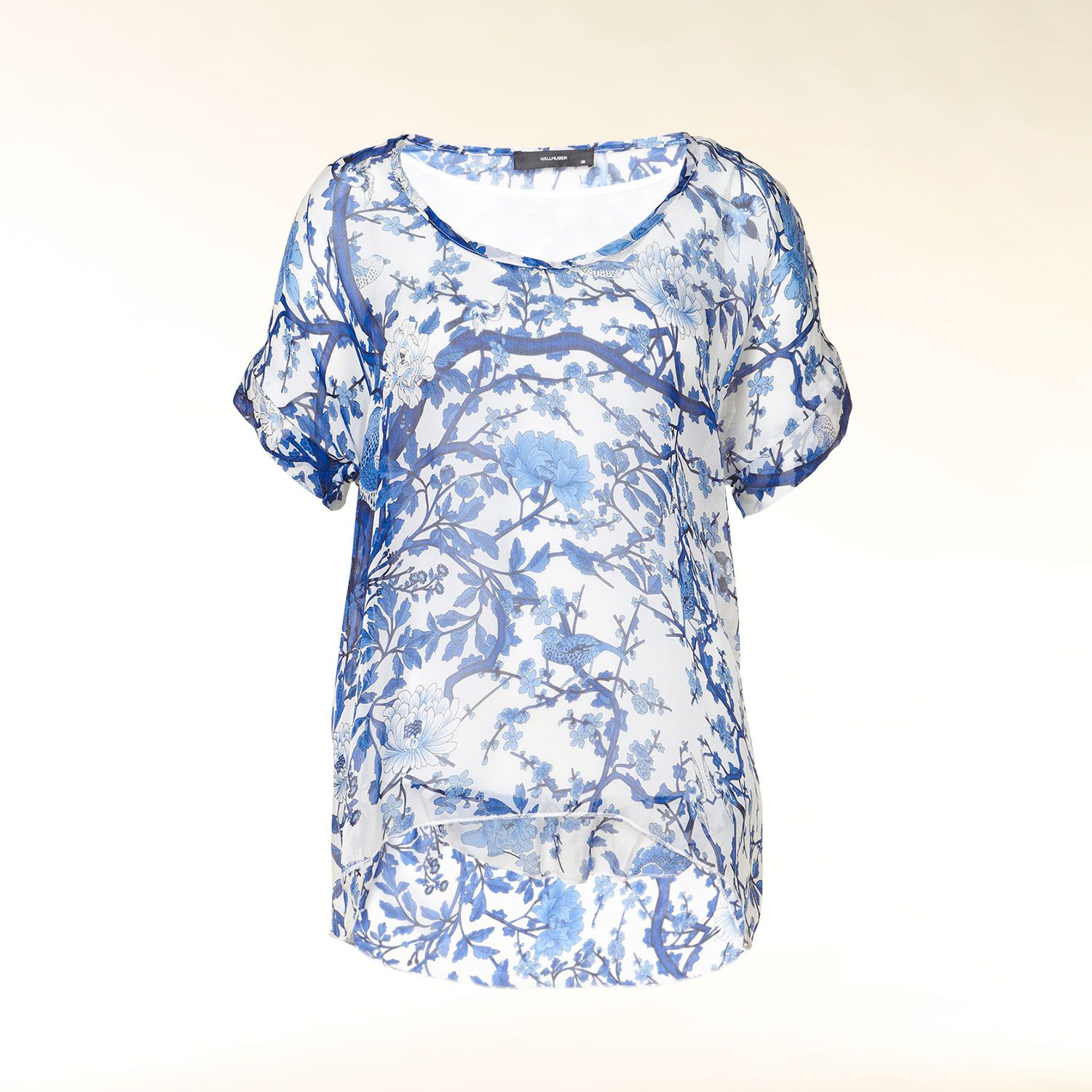 Short sleeve silk floral print blouse