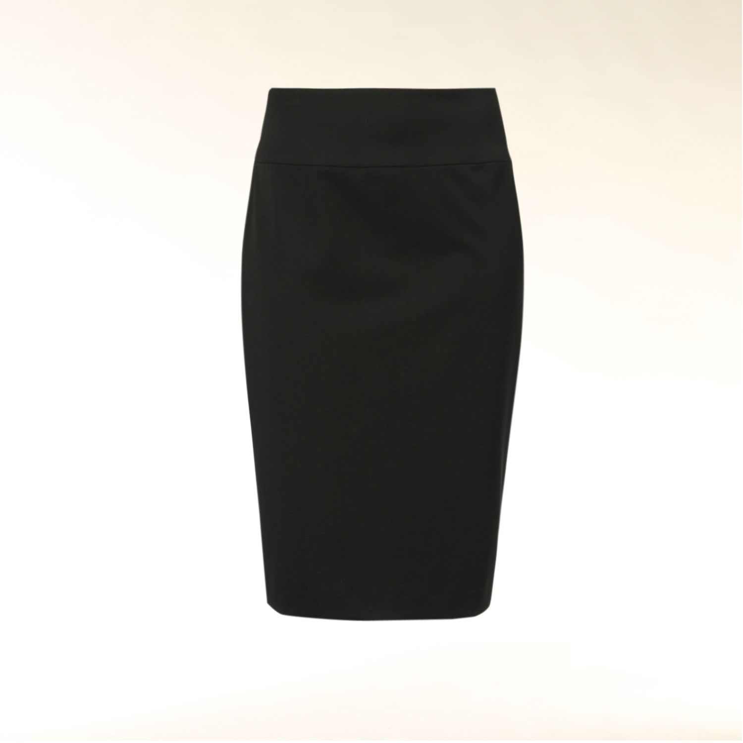 Pencil skirt with prominent waistband