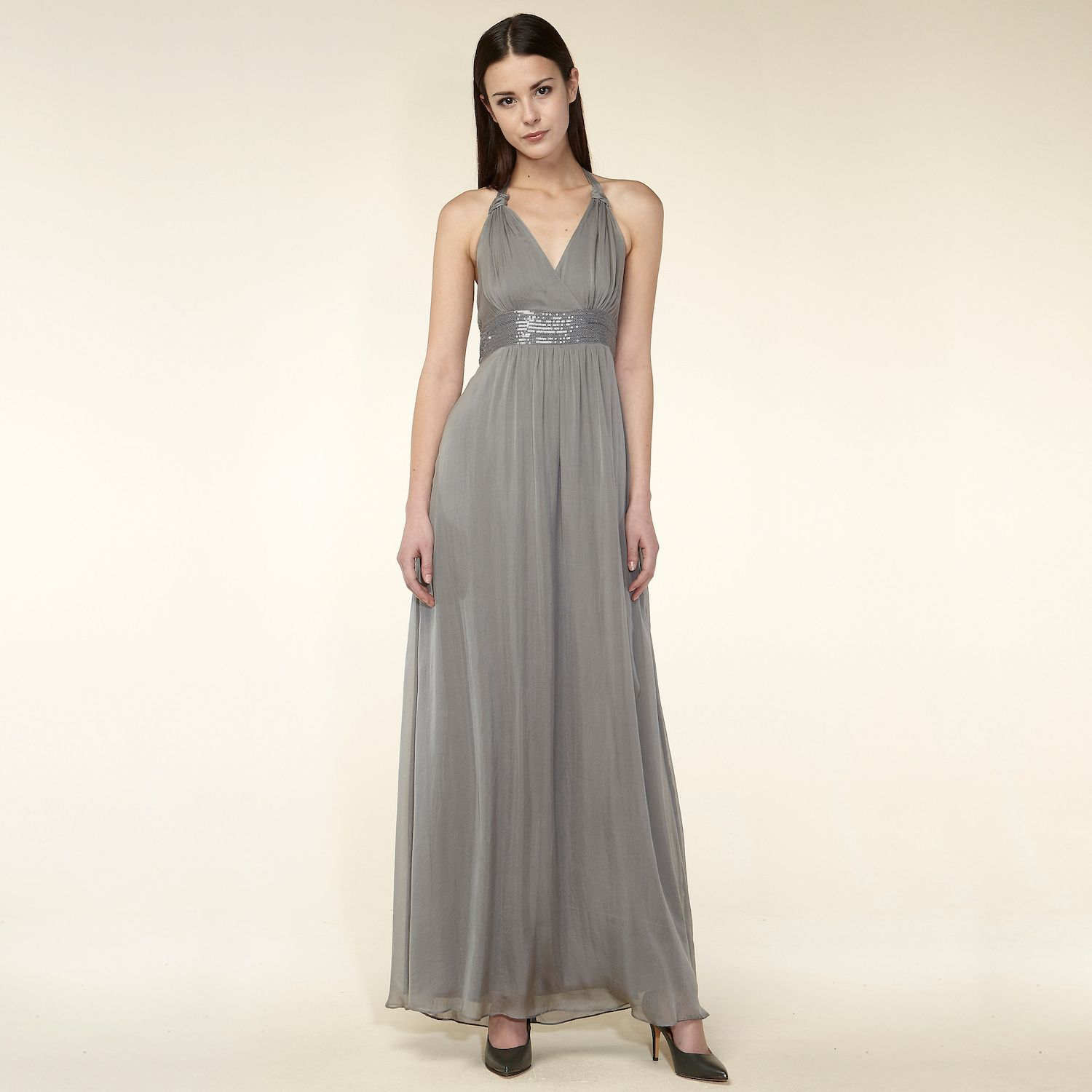 Empire waistline silk dress