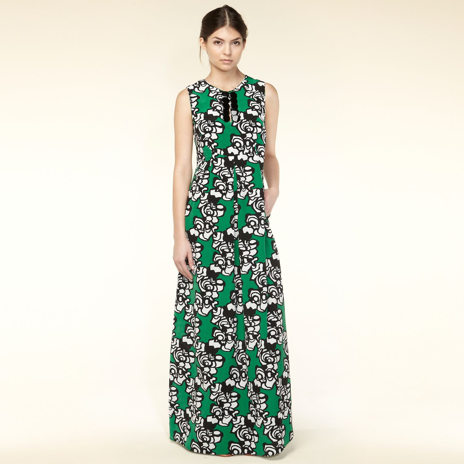 Silk graphic floral print maxi dress