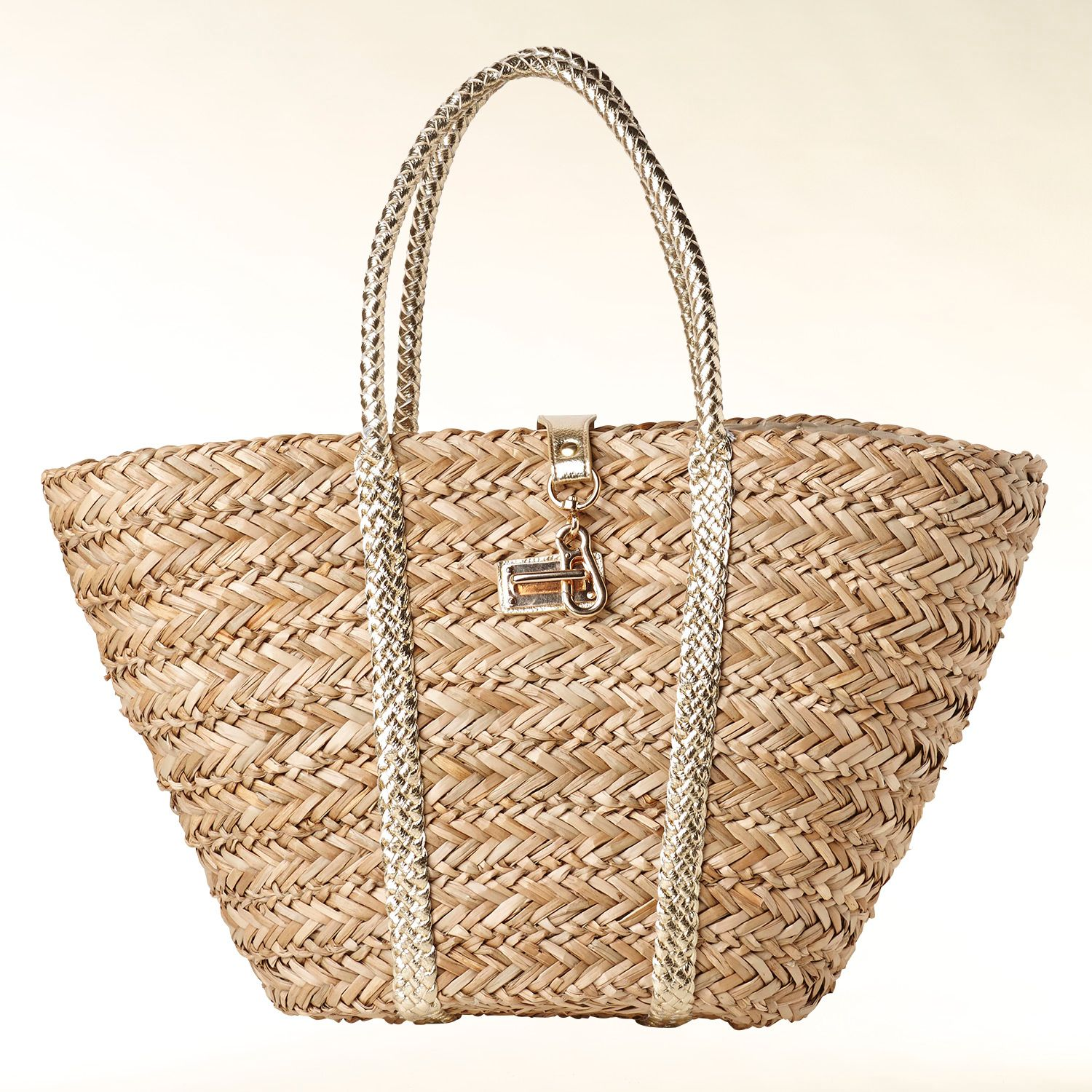 Straw bag with braid handles