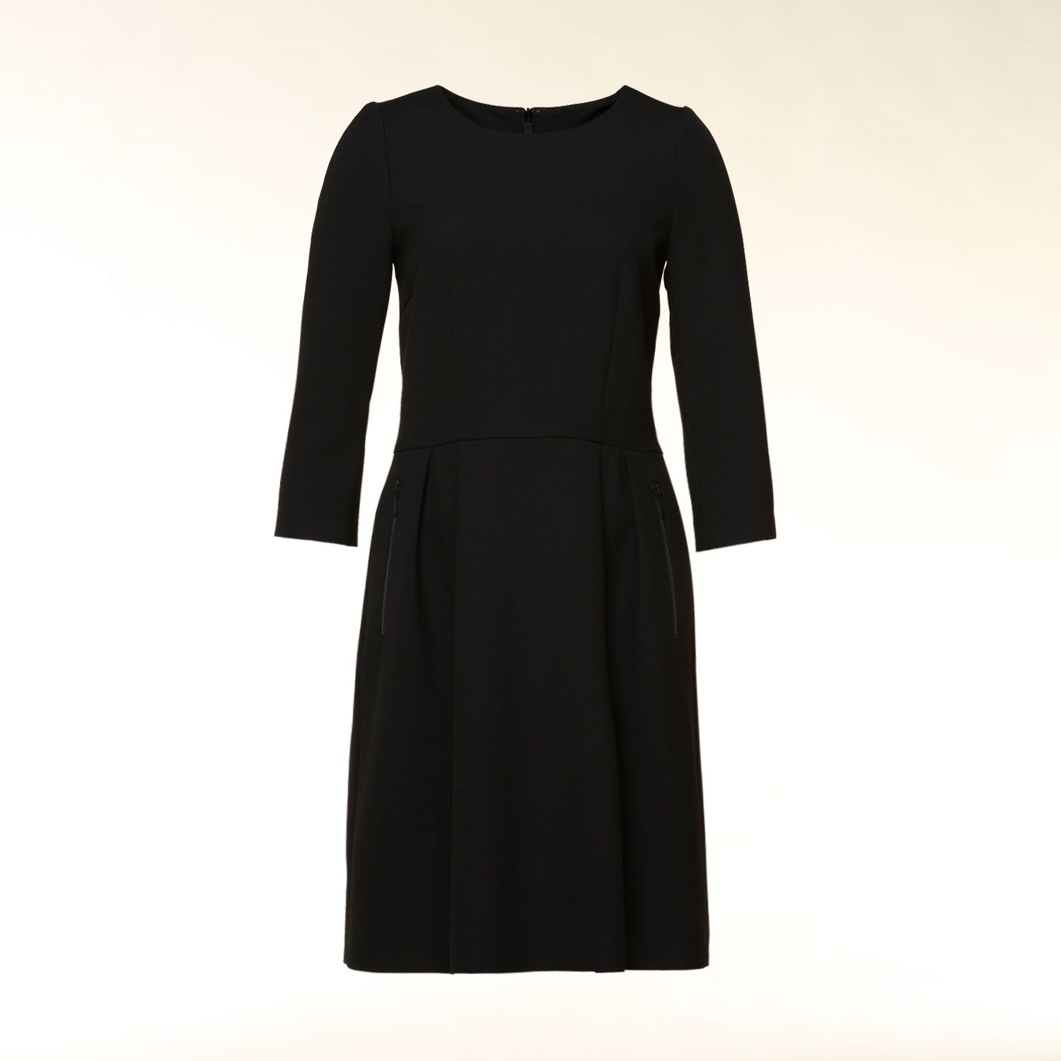 3/4 sleeve pleat detail dress