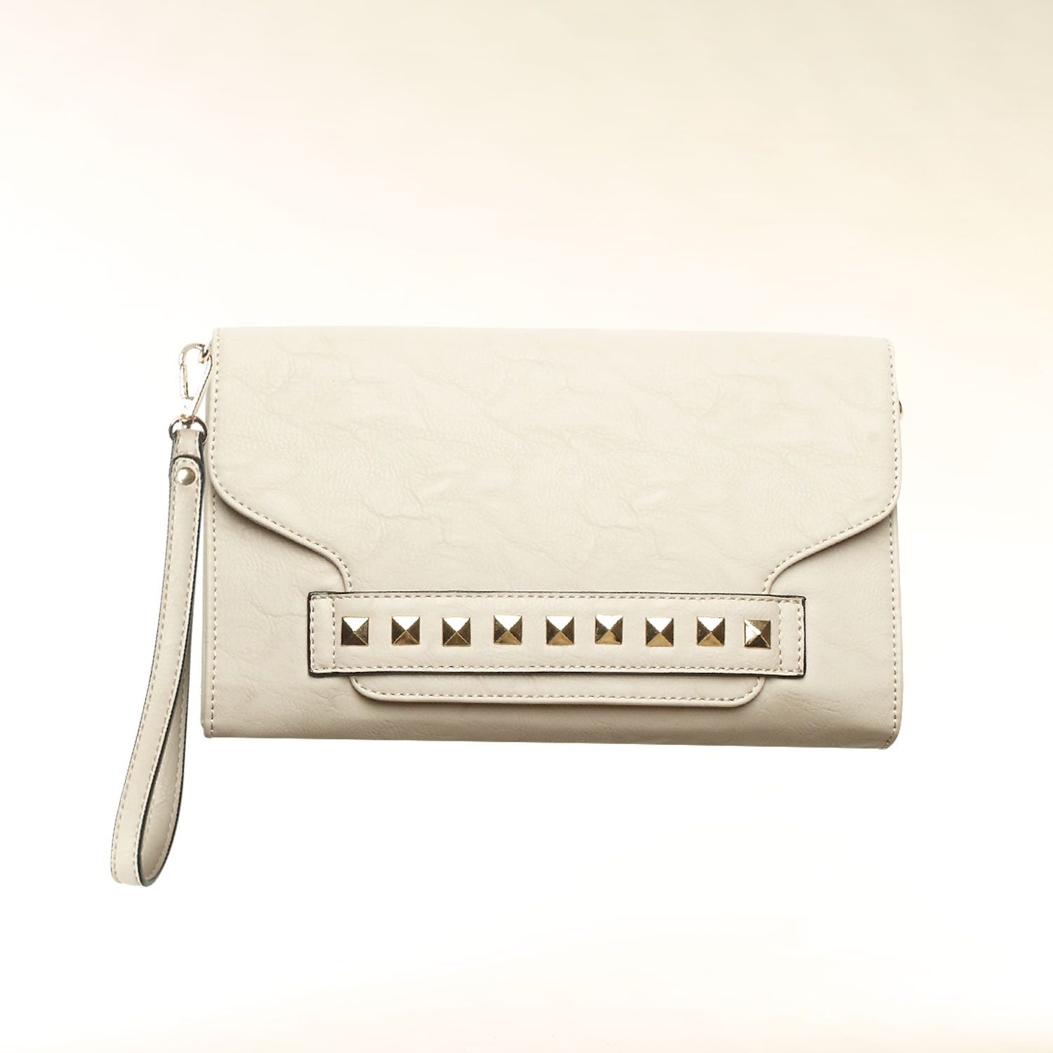 Stud detail envelope clutch bag