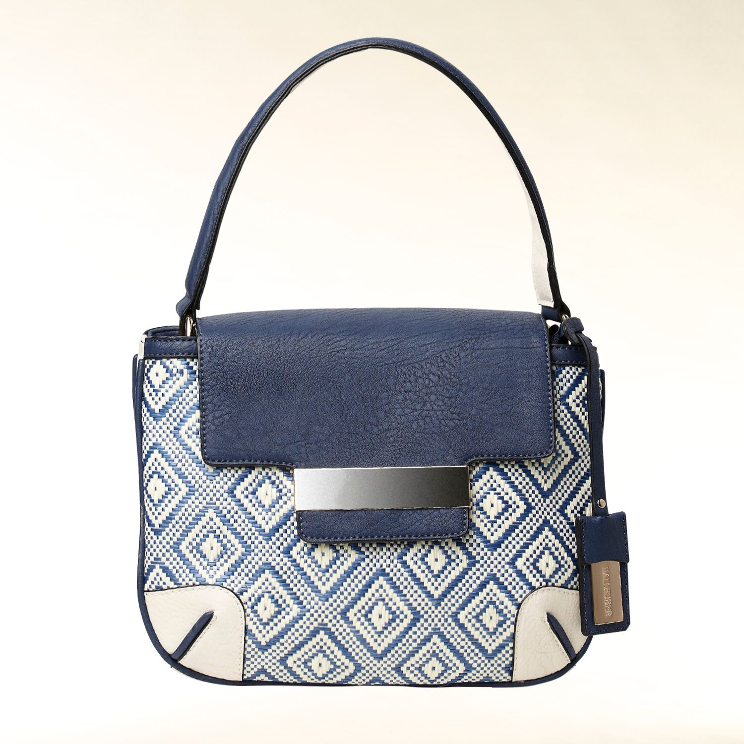Fabric mix handbag