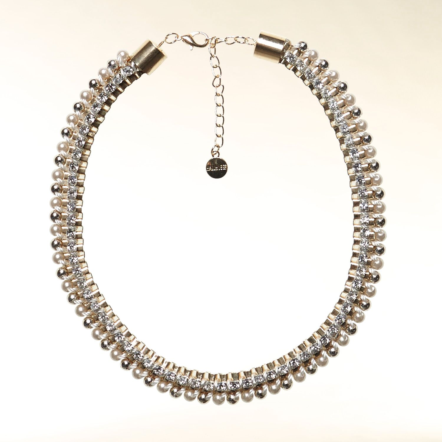 Pearl and rhinestone embellished necklace
