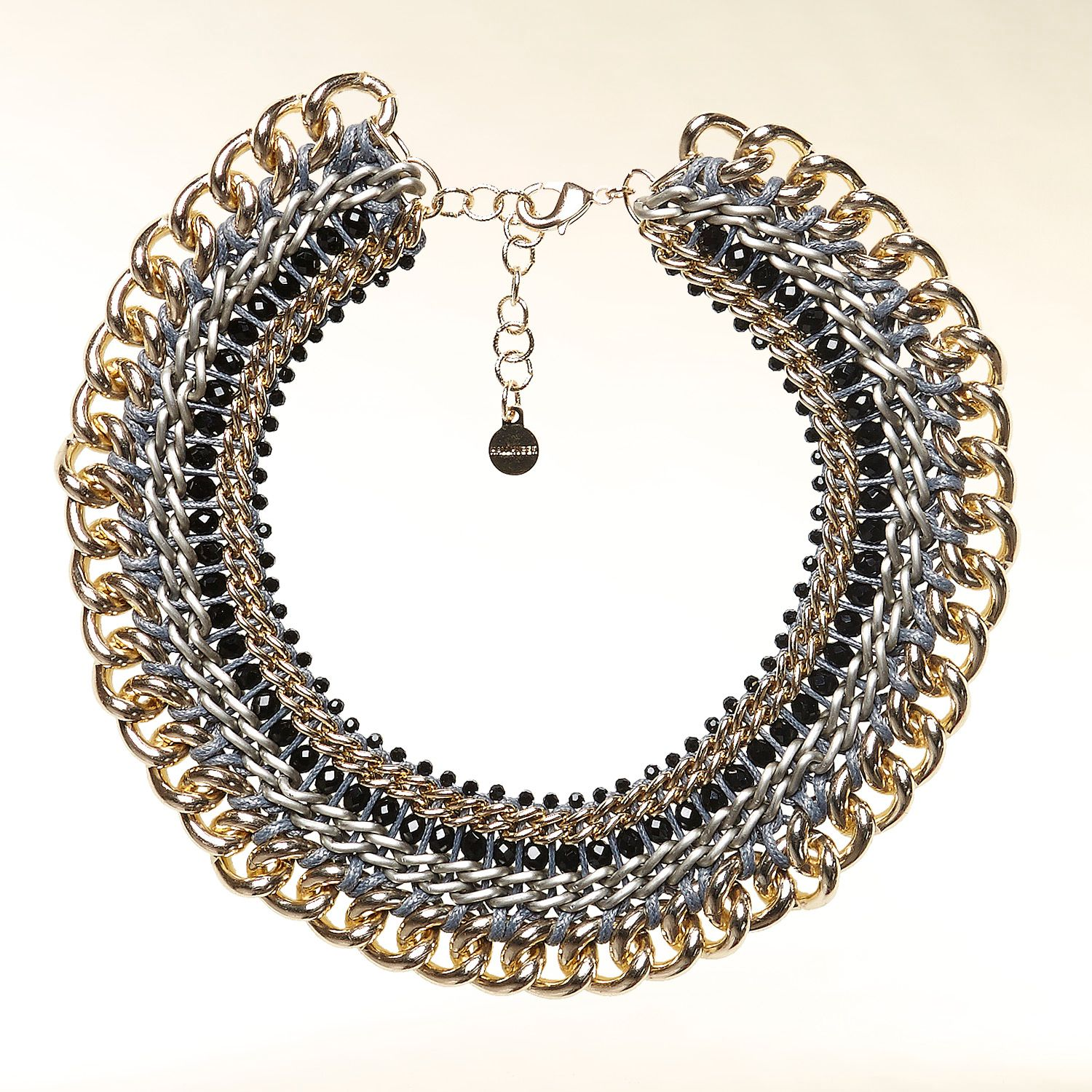 Chain and gemstone collar necklace