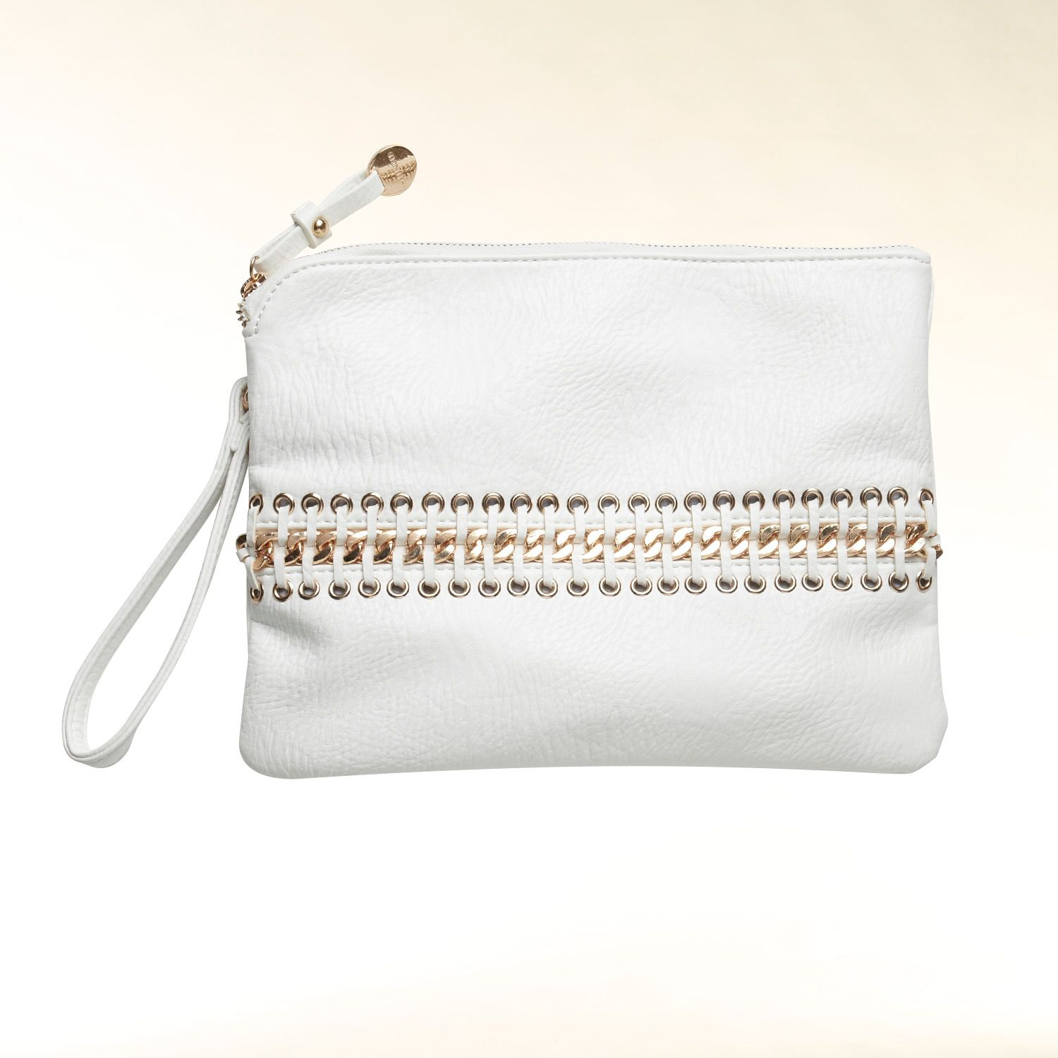 Chain embellished clutch