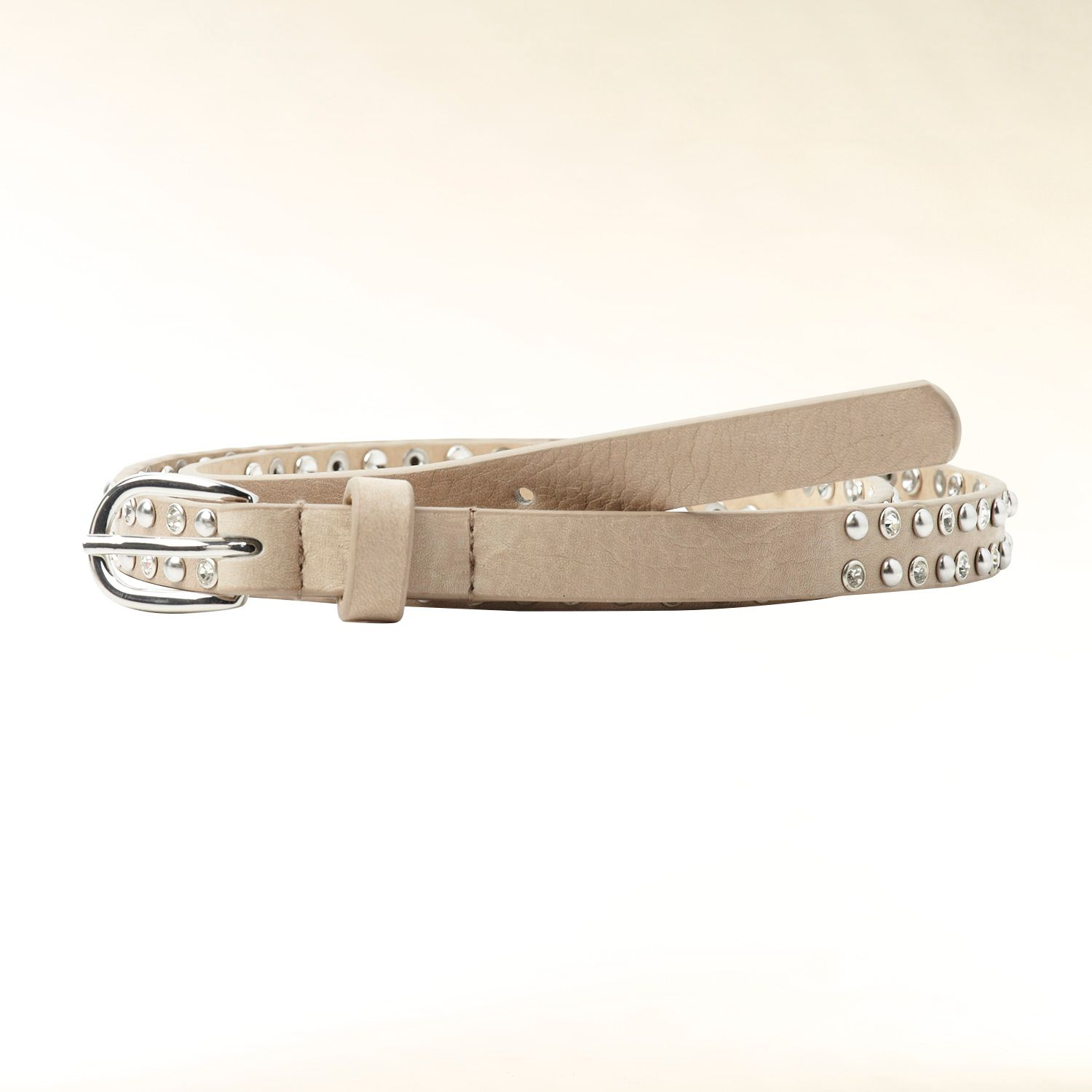 Rhinestone and stud leather belt