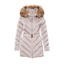Herringbone parka with faux fur trim