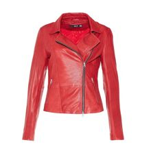 Leather jacket with waxed effect