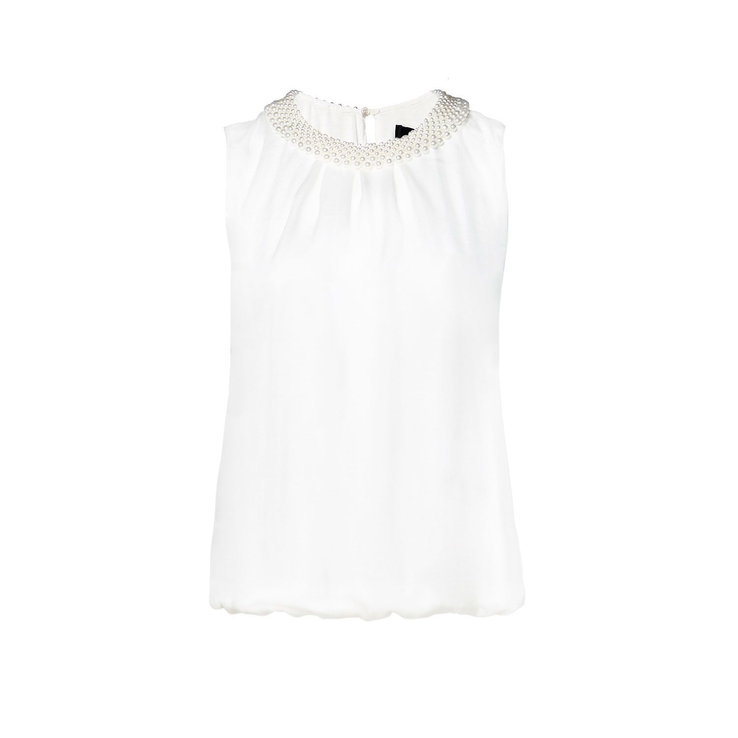 Sleeveless bead detail blouse