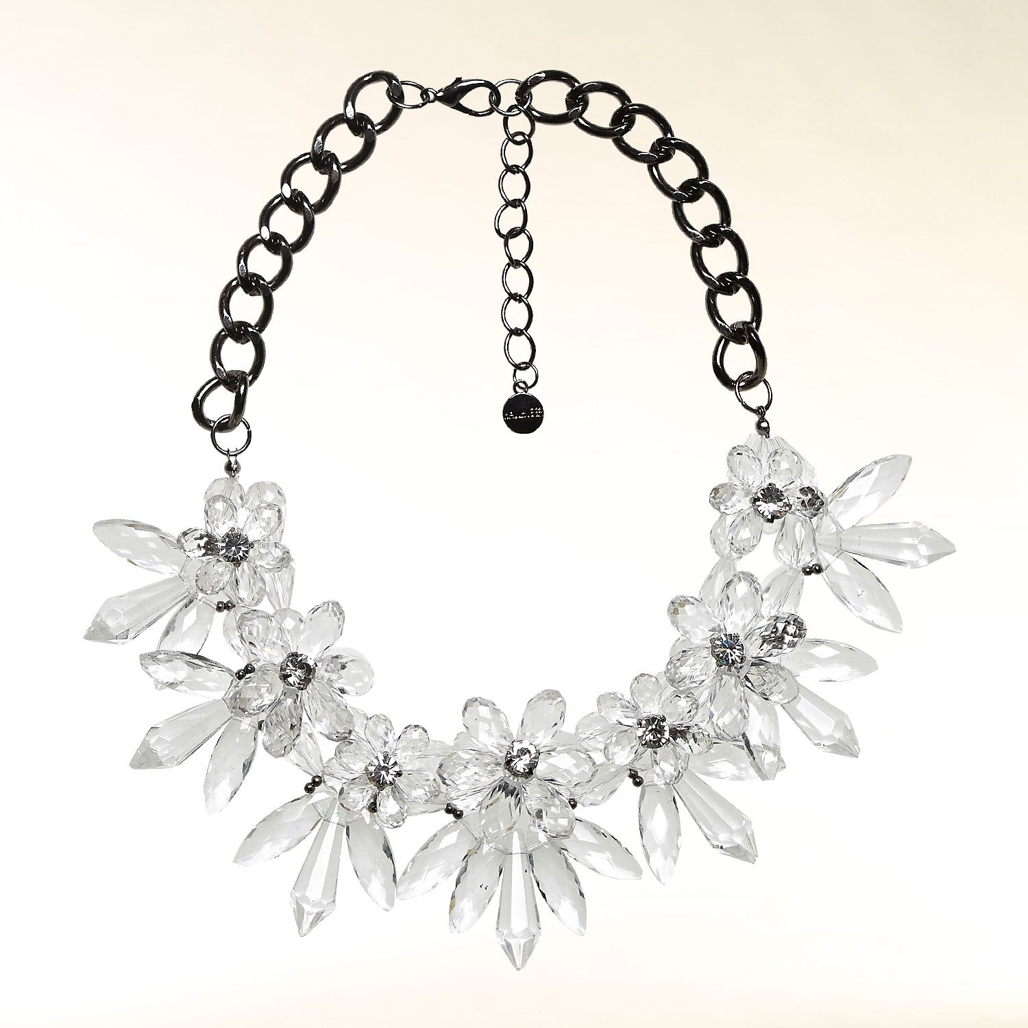 Bold flower and chain necklace