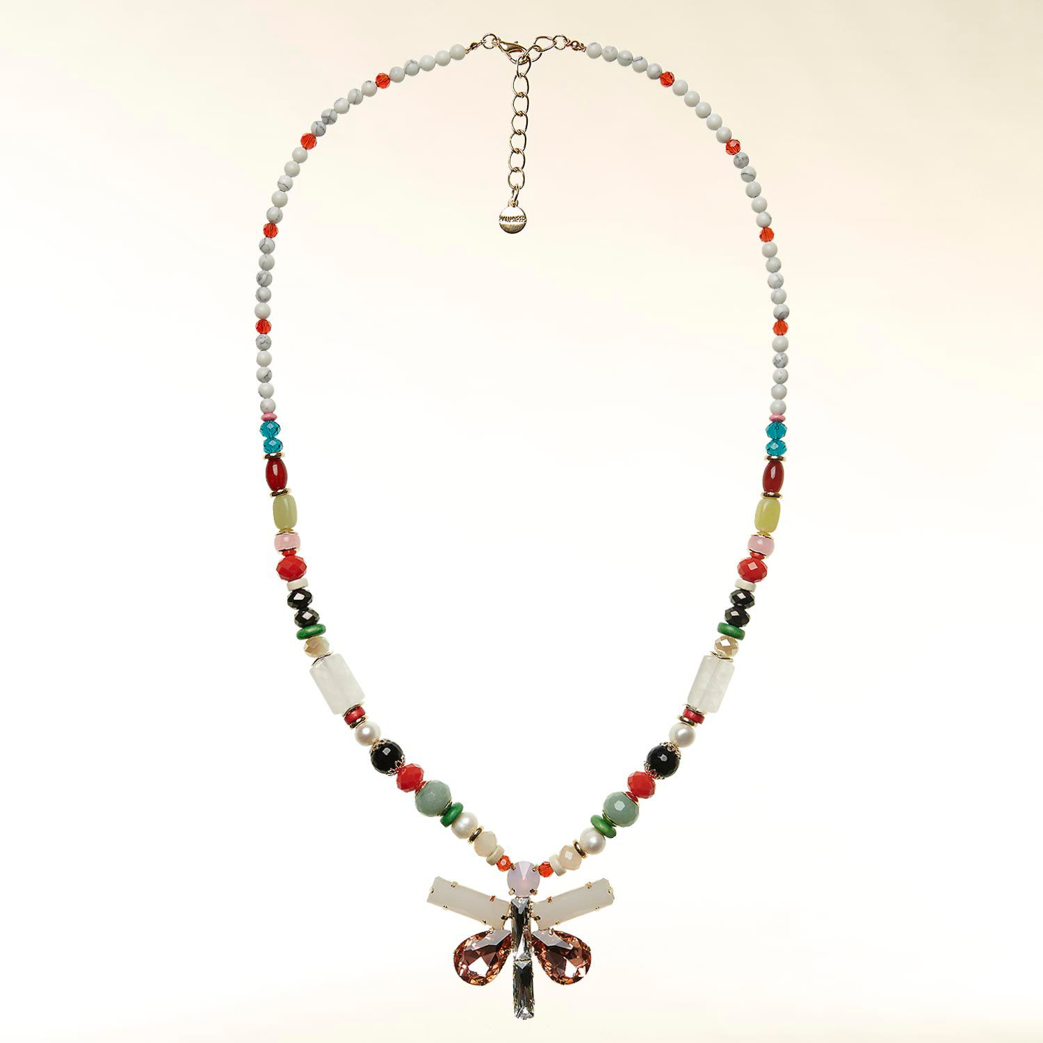 Beaded necklace with butterfly pendant