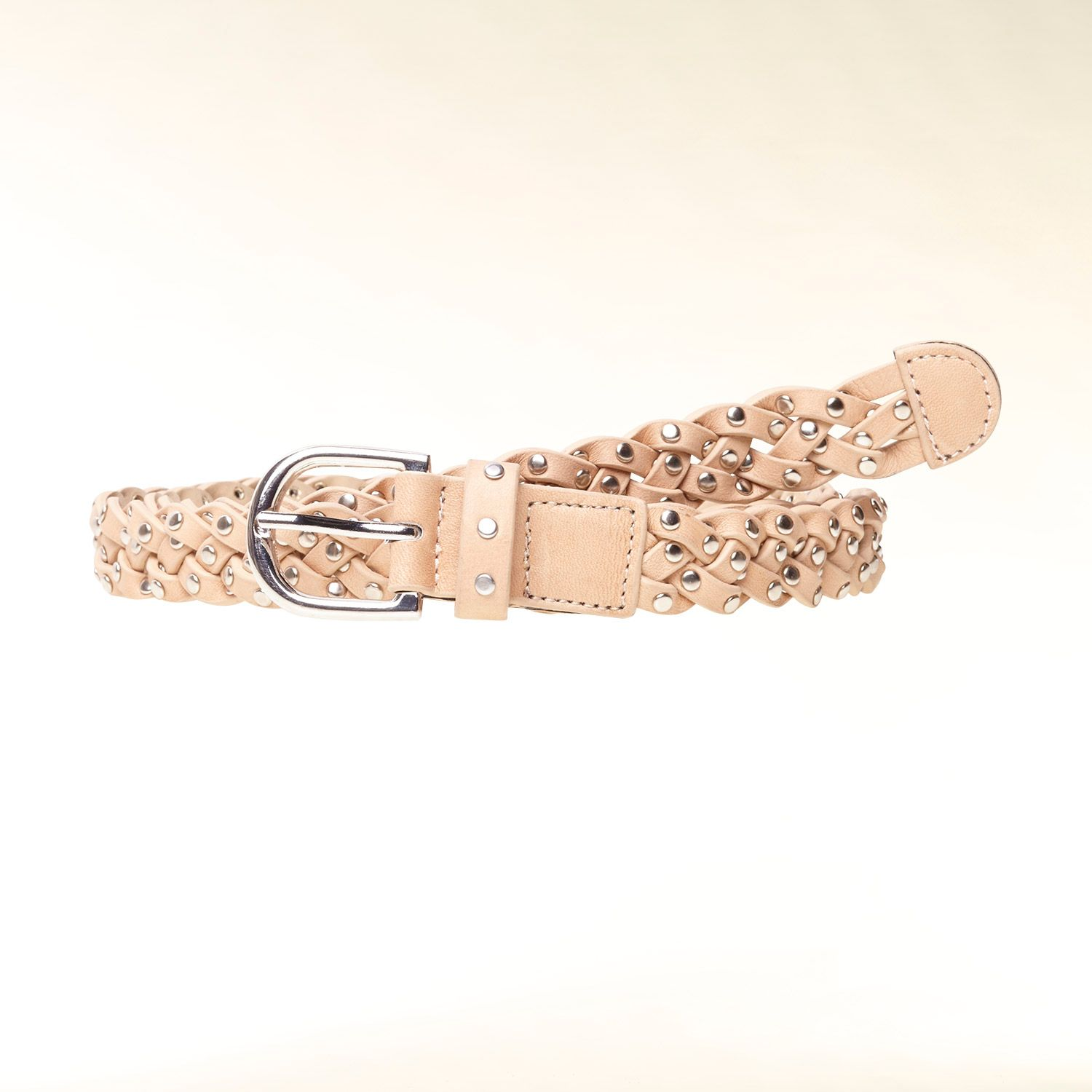 Stud embellished plaited belt