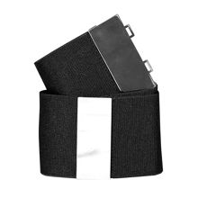 Stretch belt with metallic buckle