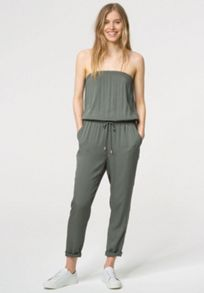 Flat woven fabric strapless jumpsuit