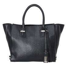 Top handle bag with snake front