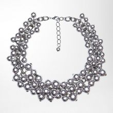 Statement necklace with metallic beads