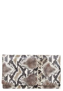 Faux leather python print clutch