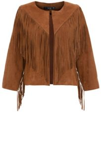 Leather fringed suede jacket