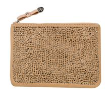 Canvas studded clutch
