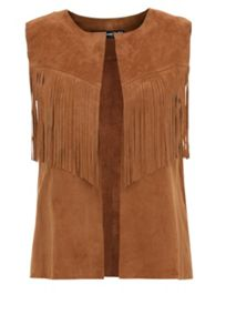 Suede waistcoat with fringing