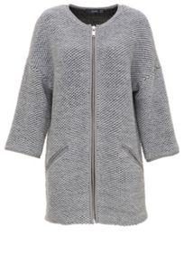 Chunky knit knit coat with zipper detail