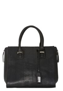 Faux leather top handle bag