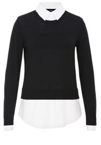 Fine-knit two-in-one style jumper