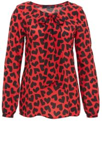 Silk tie-neck blouse with heart print