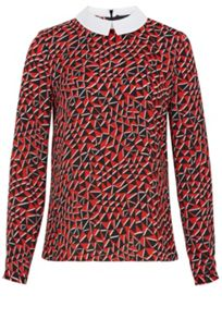 Flat woven fabric graphic print blouse