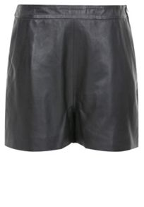 Leather high-waist leather shorts