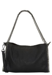 Faux leather top handle bag with chain detailing