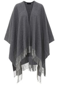 Fine-knit double-face fringed cape