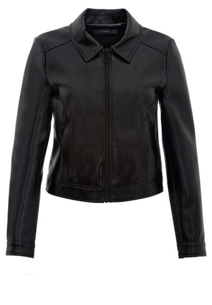 Hallhuber Faux leather faux leather crop jacket